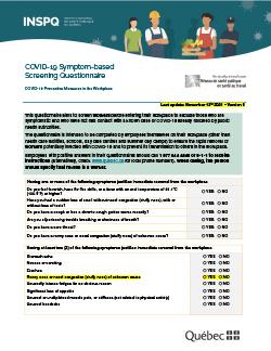 COVID-19 Symptom-based Screening Questionnaire