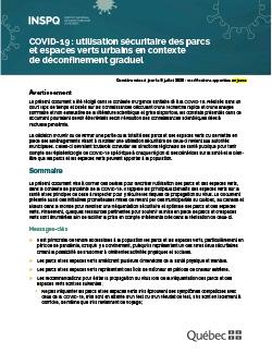 COVID-19 : utilisation sécuritaire des parcs  et espaces verts urbains en contexte  de déconfinement graduel