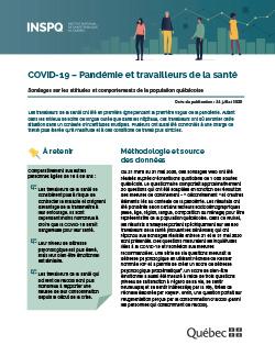 COVID-19 : Pandémie et travailleurs de la santé