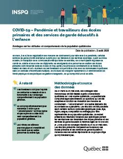 COVID-19 : Pandémie et travailleurs des écoles primaires et des services de garde éducatifs à l'enfance