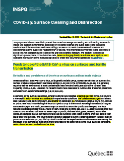 COVID 19: Surface Cleaning and Disinfection