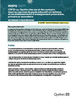 COVID-19 : Gestion des cas et des contacts dans les services de garde éducatifs à l'enfance et les établissements d'enseignement préscolaire, primaire et secondaire
