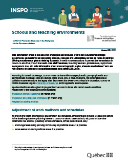 Schools and teaching environments - COVID-19 Preventive Measures in the Workplace