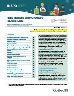 Halte-garderie communautaire - Mesures de prévention de la COVID-19 en milieu de travail