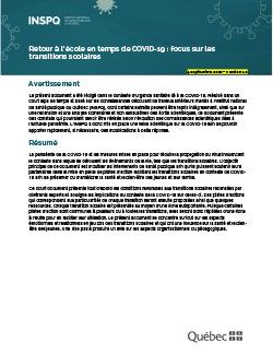 Retour à l'école en temps de COVID-19 : focus sur les transitions scolaires