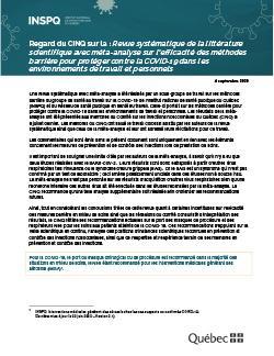 Regard du CINQ sur la : Revue systématique de la littérature scientifique avec méta-analyse sur l'efficacité des méthodes barrière pour protéger contre la COVID-19 dans les environnements de travail et personnels
