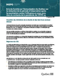 Avis du Comité sur l'immunisation du Québec sur la réduction de la période d'observation après la vaccination contre l'influenza en 2020-2021 dans le contexte de la pandémie de COVID-19