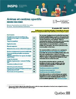 Arénas et centres sportifs - Mesures de prévention de la COVID-19 en milieu de travail