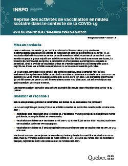 Reprise des activités de vaccination en milieu scolaire dans le contexte de la COVID-19