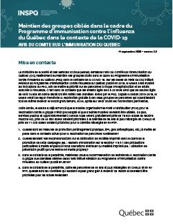 Maintien des groupes ciblés dans le cadre du Programme d'immunisation contre l'influenza du Québec  dans le contexte de la COVID-19