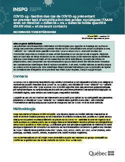 Gestion des cas de COVID-19 présentant un premier test d'amplification des acides nucléiques (TAAN) avec un résultat « détecté » ou « détecté faible quantité d'ARN viral » et de leurs contacts