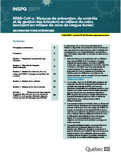 SRAS-CoV-2 : Mesures de prévention, de contrôle et de gestion des éclosions en milieux de soins