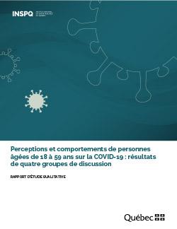 Perceptions et comportements de personnes âgées de 18 à 59 ans sur la COVID-19 : résultats de quatre groupes de discussion