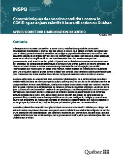Caractéristiques des vaccins candidats contre la COVID 19 et enjeux relatifs à leur utilisation au Québec - Avis du Comité sur l'immunisation au Québec