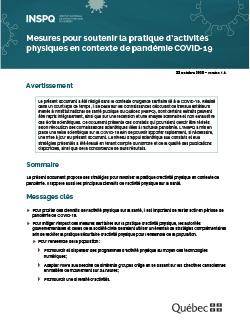 Mesures pour soutenir la pratique d'activités physiques en contexte de pandémie COVID-19