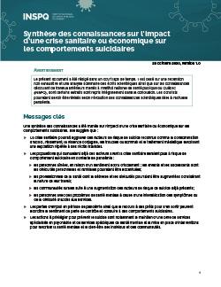 Synthèse des connaissances sur l'impact d'une crise sanitaire ou économique sur les comportements suicidaires