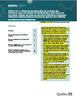 Mesures de prévention et contrôle des infections pour les milieux de réadaptation, ainsi que tous les autres milieux de soins ou de vie en déficience physique, déficience intellectuelle et trouble du spectre de l'autisme