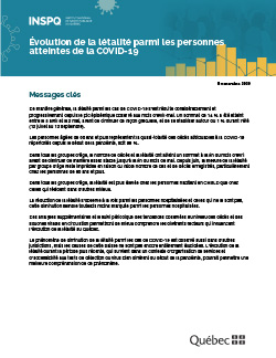 Évolution de la létalité parmi les personnes atteintes de la COVID-19