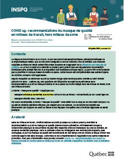 COVID 19 : recommandations du masque médical en milieux de travail, hors milieux de soins