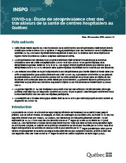 COVID-19 : Étude de séroprévalence chez des travailleurs de la santé de centres hospitaliers au Québec