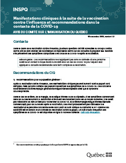 Manifestations cliniques à la suite de la vaccination contre l'influenza et recommandations dans le contexte de la COVID-19