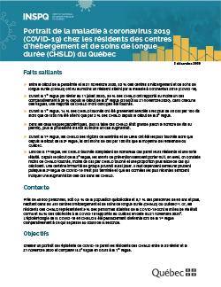 Portrait de la maladie à coronavirus 2019 (COVID-19) chez les résidents des centres d'hébergement et de soins de longue  durée (CHSLD) du Québec