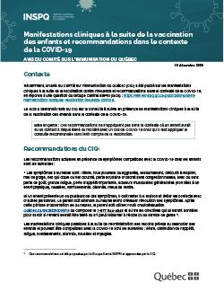 Manifestations cliniques à la suite de la vaccination des enfants et recommandations dans le contexte de la COVID-19