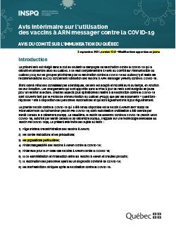 Avis du Comité sur l'immunisation du Québec sur l'utilisation des vaccins contre la COVID-19