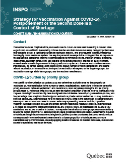 Strategy for Vaccination Against COVID-19: Postponement of the Second Dose in a Context of Shortage