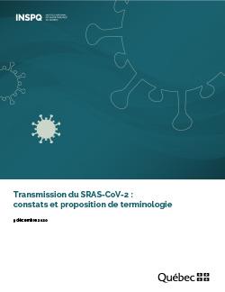 Transmission du SRAS-CoV-2 : constats et proposition de terminologie