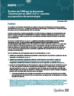 """Position du CINQ sur le document """"Transmission du SRAS-CoV-2 : constats et proposition de terminologie"""""""