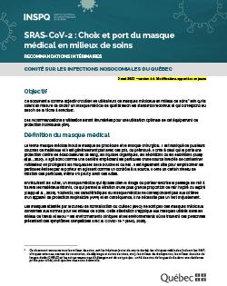 SRAS-CoV-2 : choix et port du masque médical en milieux de soins