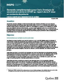 Demande complémentaire pour l'avis Stratégie de vaccination contre la COVID-19 : report de la 2e dose en contexte de pénurie