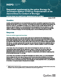 Requested supplement to the notice Strategy for Vaccination Against COVID-19: Postponement of the Second Dose in a Context of Shortage
