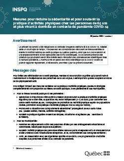 Mesures pour réduire la sédentarité et pour soutenir la pratique d'activités physiques chez les personnes de 65 ans  et plus vivant à domicile en contexte de pandémie COVID-19