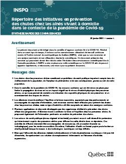 Répertoire des initiatives en prévention  des chutes chez les aînés vivant à domicile  dans le contexte de la pandémie de Covid-19