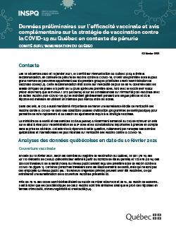 Données préliminaires sur l'efficacité vaccinale et avis complémentaire sur la stratégie de vaccination contre la COVID-19 au Québec en contexte de pénurie