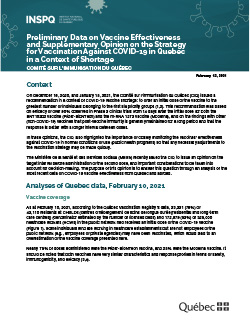 Preliminary Data on Vaccine Effectiveness  and Supplementary Opinion on the Strategy  for Vaccination Against COVID-19 in Quebec  in a Context of Shortage