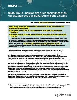 SRAS-CoV-2 : Gestion des aires communes et du covoiturage des travailleurs en milieux de soins