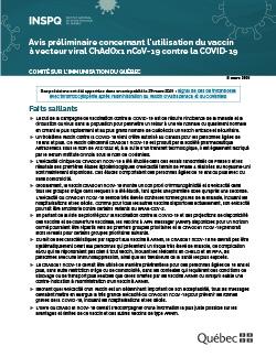 Avis préliminaire du Comité sur l'immunisation du Québec concernant l'utilisation du vaccin à vecteur viral ChAdOx1 nCoV-19 contre la COVID-19