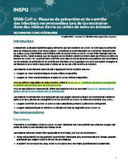 SRAS-CoV-2 : Avis du CINQ sur les mesures de prévention et de contrôle des infections recommandées lors de la vaccination dans des milieux de vie ou unités de soins en éclosion