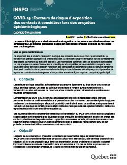 Facteurs de risque d'exposition des contacts à considérer lors des enquêtes épidémiologiques