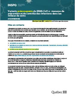 Variants sous surveillance rehaussée du SRAS-CoV-2 : mesures de prévention et de contrôle des infections dans les milieux de soins
