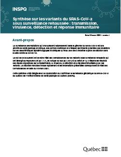 Synthèse sur les variants du SRAS-CoV-2  sous surveillance rehaussée : transmission, virulence, détection et réponse immunitaire