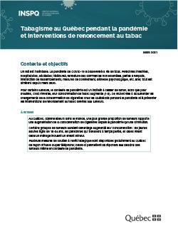 Tabagisme au Québec pendant la pandémie et interventions de renoncement au tabac