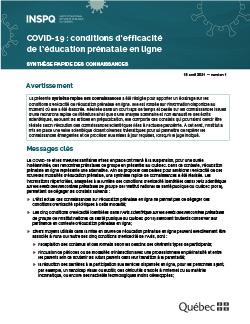 COVID-19 : conditions d'efficacité de l'éducation prénatale en ligne - Synthèse rapide des connaissances
