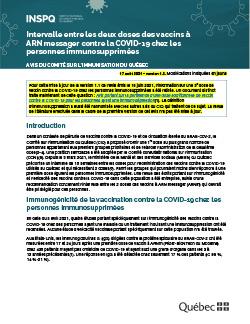 Intervalle entre les deux doses des vaccins à ARN messager contre la COVID-19 chez les personnes immunosupprimées