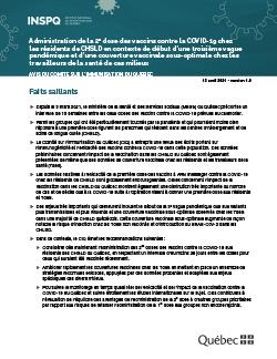 Administration de la 2e dose des vaccins contre la COVID-19 chez  les résidents de CHSLD en contexte de début d'une troisième vague pandémique et d'une couverture vaccinale sous-optimale chez les travailleurs de la santé de ces milieux