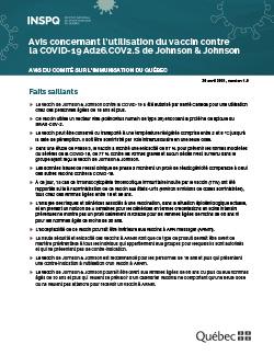 Avis concernant l'utilisation du vaccin contre  la COVID-19 Ad26.COV2.S de Johnson & Johnson