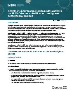 Définitions pour la vigie sanitaire des variants du SRAS-CoV-2 et classification des lignées détecté(e)s au Québec